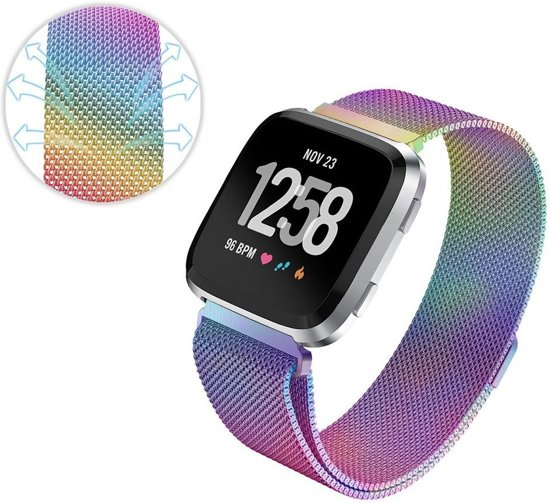 Milanees Horloge Band Voor de Fitbit Versa - Milanese Watchband Sportbandje - Armband Strap Polsband RVS - Colorful Large
