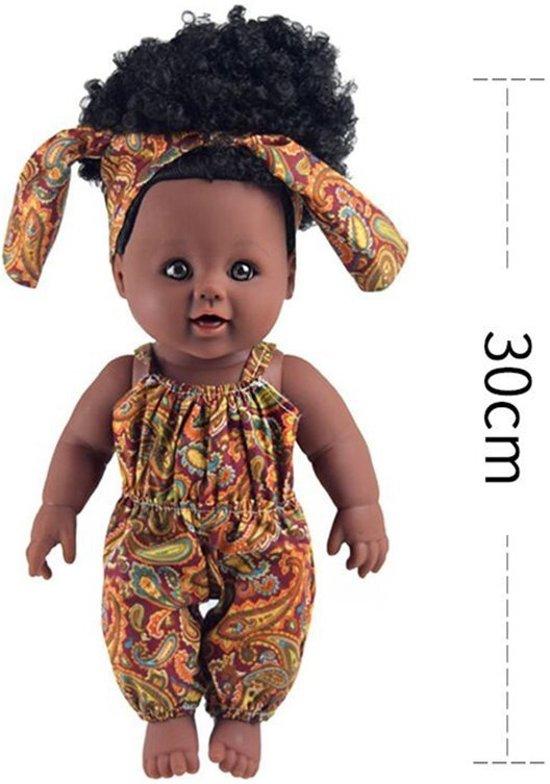 Bruine pop met zwarte krullen - Donkere pop - Afrikaanse pop 30 cm - Speelgoed - pop donkere huidskleur - donkere babypop - zwarte pop