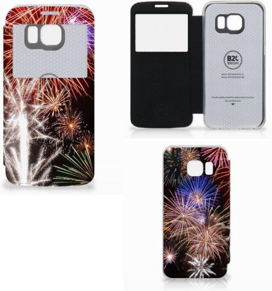 Wallet Case met Pasjes Samsung Galaxy S6 Edge Vuurwerk