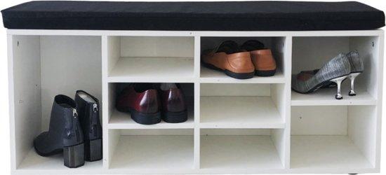 Schoenenkast hal bankje - open schoenenrek - met zitkussen wit