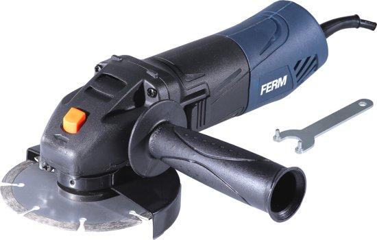 FERM AGM1086 Haakse Slijper - 500W - 115mm - Elektronische herstartbeveiliging- Softgrip - Spindelblokkering - 3 Meter kabel - Incl. Verstelbare zijhandgreep
