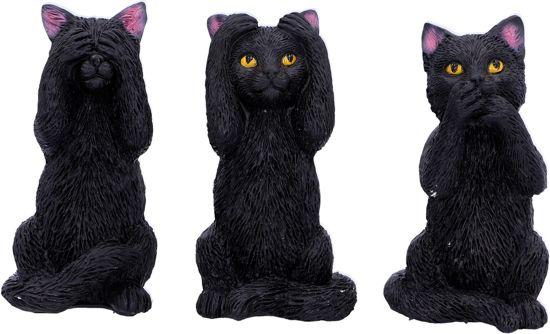 Horen Zien En Zwijgen Beeldjes.Horen Zien En Zwijgen Beeldjes Set Van 3 Katjes