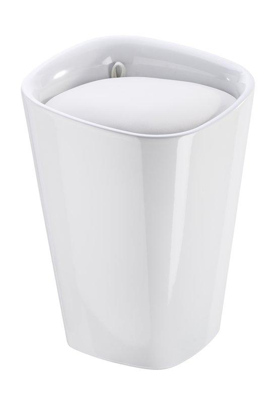 bol.com | Wasmand en badkamer stoel/ kruk wit