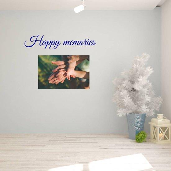 Muursticker Happy Memories -  Donkerblauw -  120 x 23 cm  - Muursticker4Sale