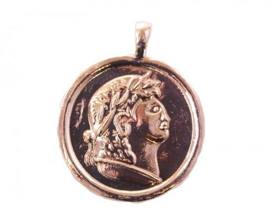 Rose/goudkleurige munt voor bijpassende ketting. Doorsnede 4 cm. P565-011