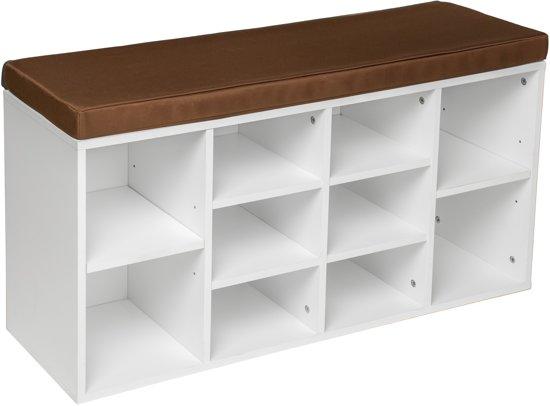 TecTake - Schoenenkast wit, met zitkussen 402075