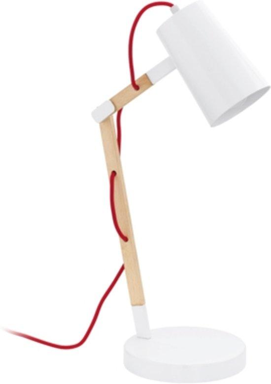EGLO Torona - Tafellamp - 1 Lichts - Wit - Lichtbruin Hout