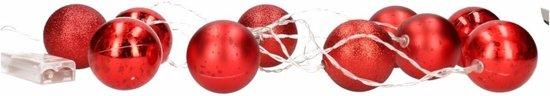Kerstversiering rode kerstballen slinger met LED verlichting