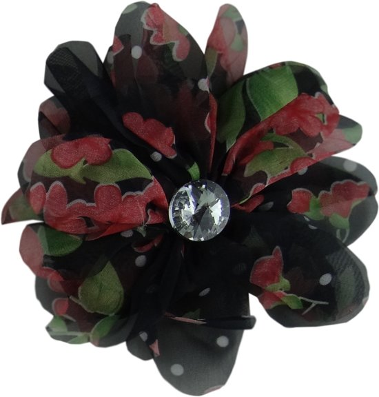Jessidress Elastiekje Dames Haar elastiek met bloemen printen - Zwart
