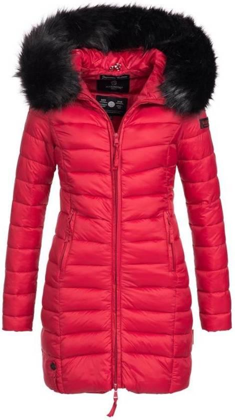 koop uitverkoop couponcodes vrouwen bol.com   Marikoo gewatteerde dames winterjas met bontkraag rood