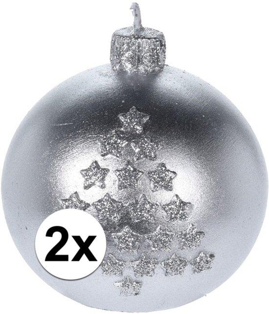 Verrassend bol.com | 2x Kerst decoratie kaars zilveren kerstballen GA-53