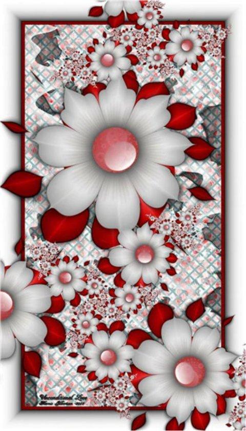 Diamond painting - Bloemen rood met wit - 30x48cm