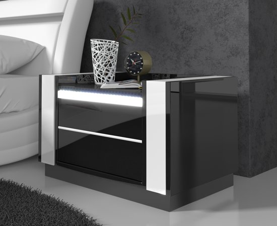 Nachtkastje Set Van 2.Bol Com Meubella Nachtkastje Luna Led Zwart Wit Set Van 2