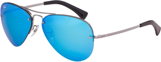 ade941ab1d44f4 Ray-Ban RB3449 004 55 - Aviator - zonnebril - Staalgrijs   Blauw Spiegel
