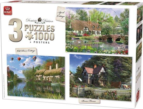 King 3 in 1 Puzzel 1000 Stukjes (68 x 49 cm) - Cottage Collectie - Drie Legpuzzels met Voorbeeldposters - Volwassenen