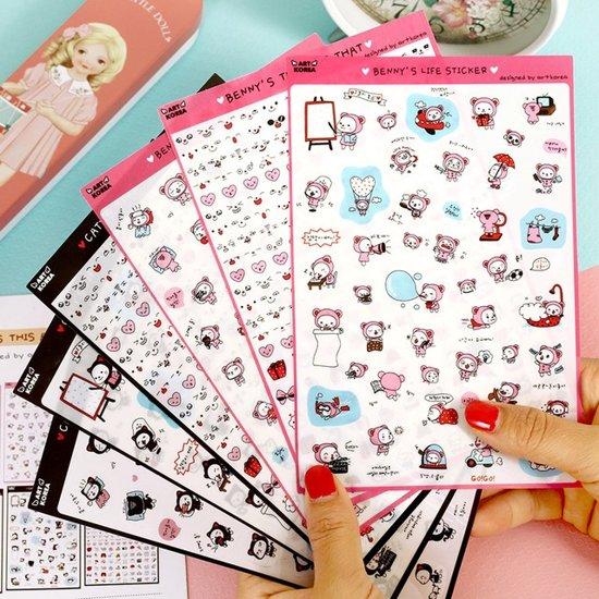 Benny's Life Stickers Illustratie Panda Beertje Beer Kawaii Koreaans Cute 6 vellen B