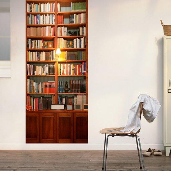 walplus deur decoratie sticker vintage boekenkast bruin