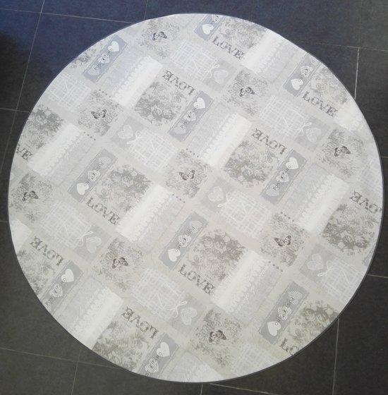 Home Trend Tafelzeil - Rond 160 cm - Love - Light Grey