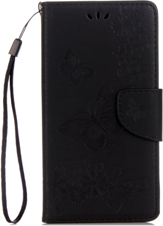 Mobigear Vlinder Bookcase Hoesje Zwart Motorola Moto G5 Plus
