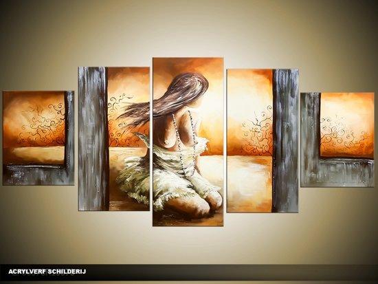 acryl schilderij slaapkamer bruin grijs 150x70cm 5luik handgeschilderd