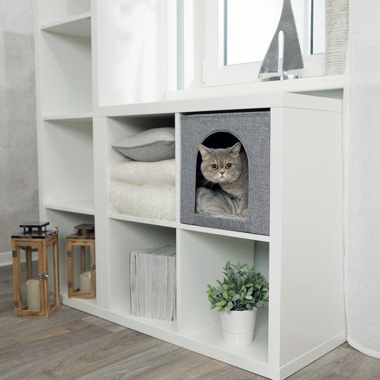 Trixie Relax Kubus Ella Kattenmand - Geweven Stof - Grijs - 33 x 33 x 37 cm