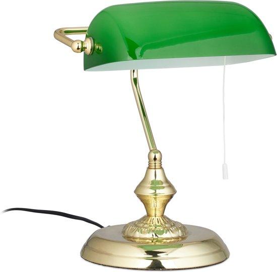 relaxdays notarislamp met trekschakelaar - bureaulamp groen - tafellamp messing - leeslamp