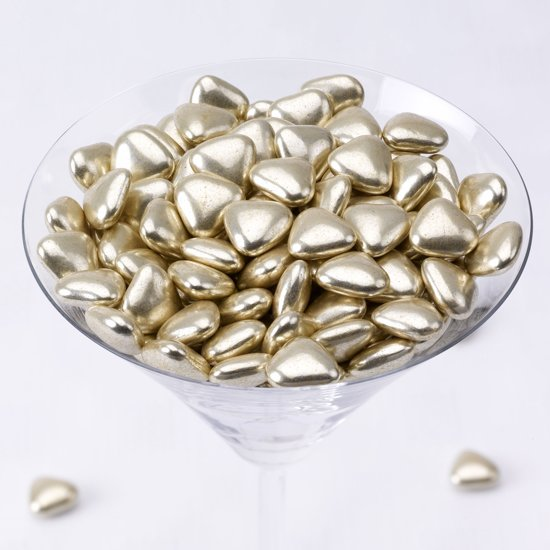 Neviti Mini hart dragees chocolade goud 1 kg Valentinaa