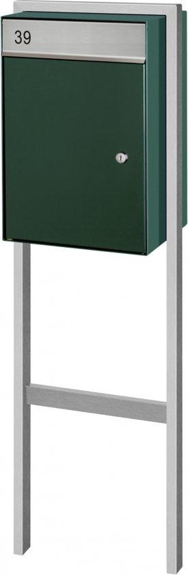 Brievenbus (groen) vrijstaand model met grondplaat