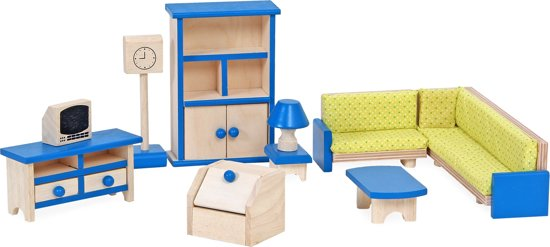 Mentari - Poppenhuis meubeltjes woonkamer hout