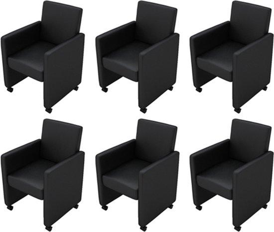 Zwarte Eetkamerstoelen 6.Eetkamerstoelen Met Wieltjes Kunstleer Zwart 6 St