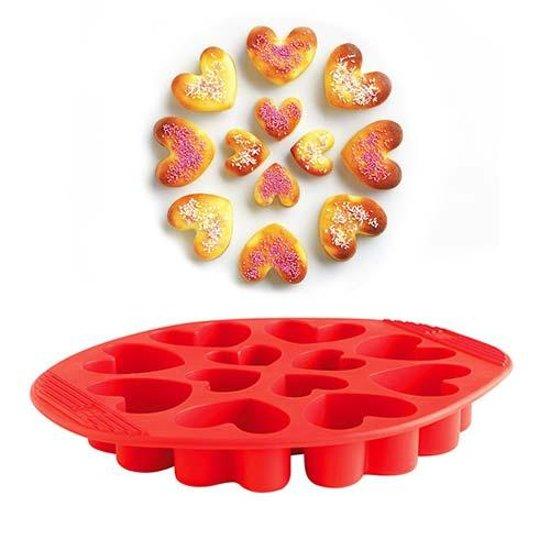 Siliconen bakvorm, 12 hartjes - Mastrad