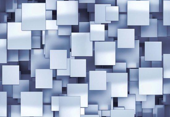 Fotobehang Abstract Squares Modern Blue | XXL - 312cm x 219cm | 130g/m2 Vlies