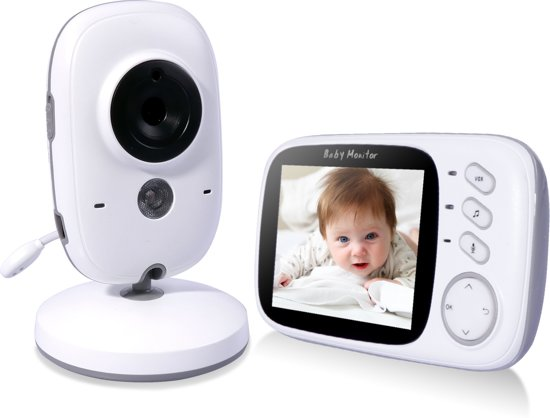 VB603 Babyfoon met Camera - 3.2 Inch Video Babyphone - Baby Monitor met Kleurenmonitor - Wit