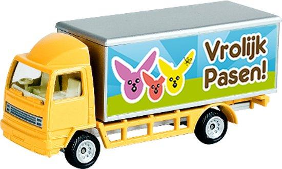 Cadeau Voor Pasen Model Vrachtwagen Met De Tekst Vrolijk Pasen
