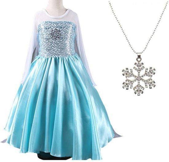 Elsa jurk Ster 120 met sleep en ketting maat 116-122 Prinsessen jurk verkleedkleding