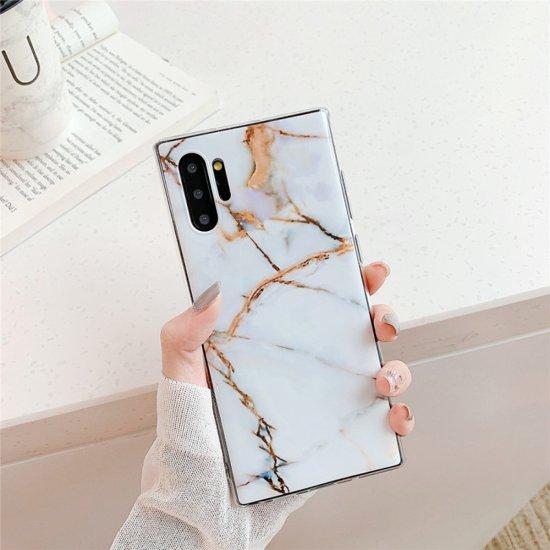Let op type!! TPU glad Gemarmerde IMD mobiele telefoon Case voor Galaxy Note 10 + (wit F23)