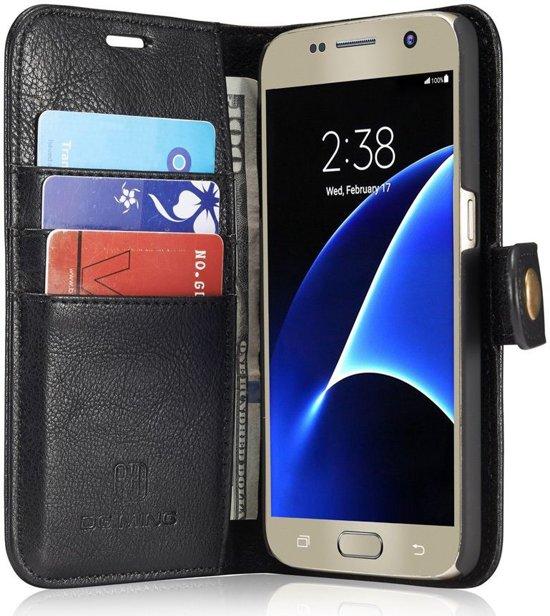Samsung Galaxy S7 Echt Leren Portemonnee Hoesje Zwart