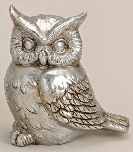 Decoratie uil zilver 16 cm model 2 for Decoratie zilver