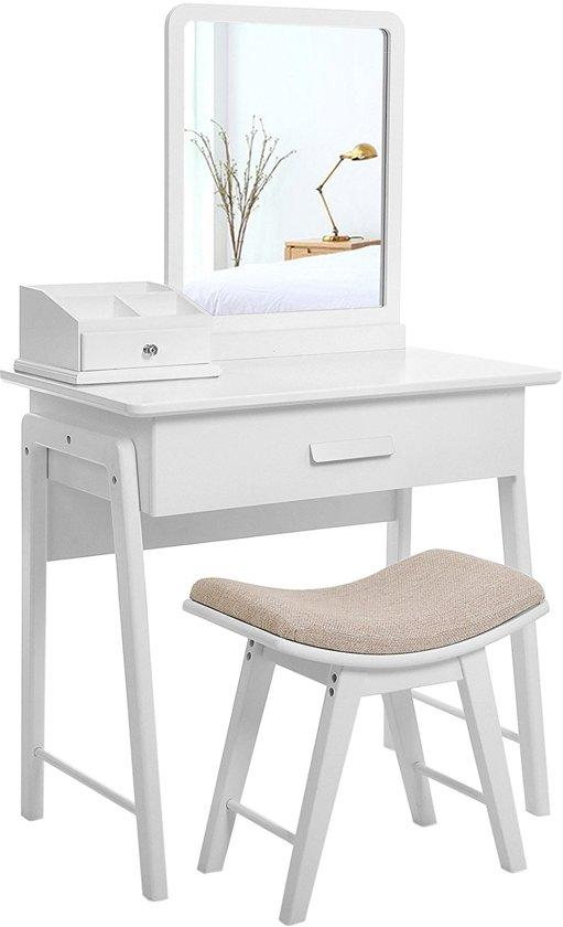 Spiegel Voor Op Kaptafel.Bol Com Moderne Kaptafel Met Spiegel En Elegante Kruk