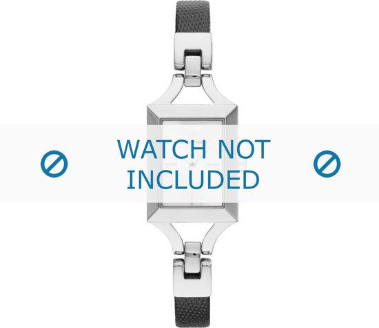 Horlogeband Armani AR7372 Leder Zwart 8mm
