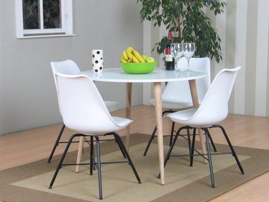 Bol tvilum napoli eethoek ronde tafel met witte kuipstoelen