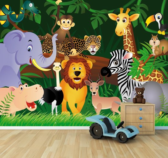 fotobehang kinderkamer wilde dieren in de jungle cartoon 300x230cm. Black Bedroom Furniture Sets. Home Design Ideas