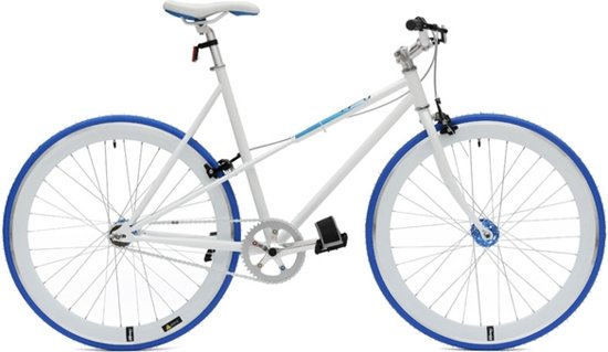 Cheetah ladies 7 speed fixed gear bike wit blauw for Minimalistische fiets
