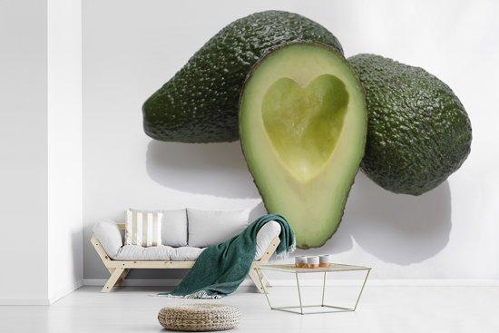 Fotobehang vinyl - Hartvormig uitgeholde avocado breedte 360 cm x hoogte 240 cm - Foto print op behang (in 7 formaten beschikbaar)
