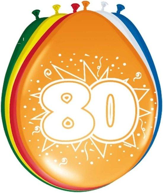 8x stuks Ballonnen versiering 80 jaar
