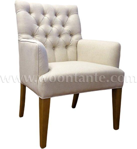 Woontante gecapitonneerde linnen eetkamerstoel fauteuil met armleuning beige - Linnen stoel ...