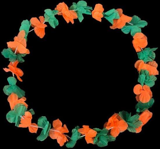 Groen, oranje Hawaii kransen Kruikenstad - Hawaii slingers 60 stuks