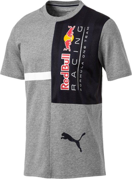 PUMA Red Bull Racing Logo Tee + Shirt Heren - Medium Gray Heather