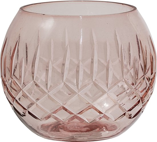 Bloomingville - Waxinelichthouder - Glas - 8xH7 cm - Roze