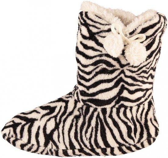 Hoge dames slof sokken met zebra print zwart/wit 37-39